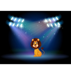 A friendly lion at the center of the stage vector