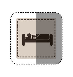 Sticker monochrome square with person in bed vector