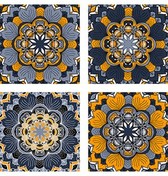 Set of colorful abstract circular floral patterns vector