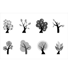 A set of various icons of trees vector