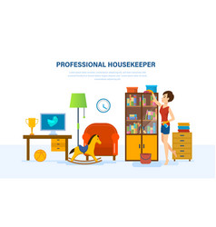Housewife is engaged in cleaning the room vector