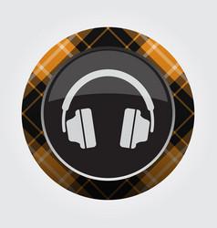 Button with orange black tartan - headphones icon vector