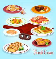 Finnish cuisine dinner dishes icon for menu design vector