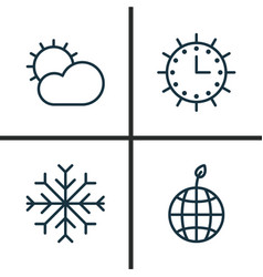 Ecology icons set collection of sun clock snow vector