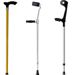 Set of orthopedic walking sticks on white backgrou vector