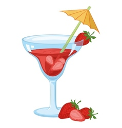 Glass with drink and strawberries vector