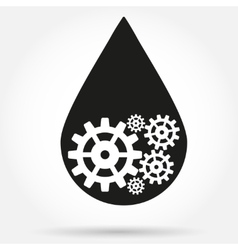 Silhouette symbol of oil industry drop with gears vector image