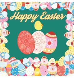 Easter card with colored eggs vector