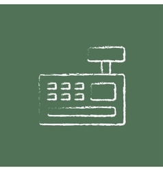Cash register machine icon drawn in chalk vector