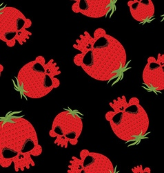 Strawberry skull seamless pattern red head vector