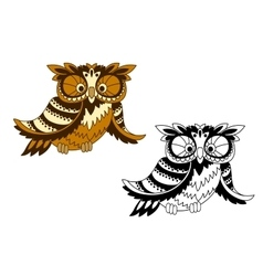 Funny cartoon owl bird in outline style vector