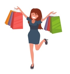 Girl with shopping bags vector