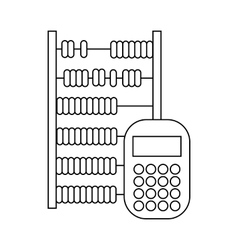 Abacus and calculator icon outline style vector