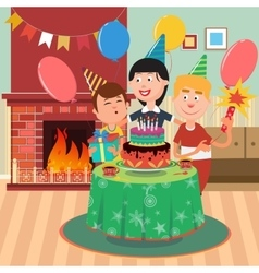 Happy family celebrating birthday party vector