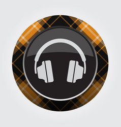 Button with orange black tartan - headphones icon vector