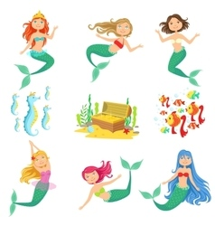 Fairy Tale Mermaids And Related Objects Set vector image