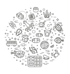 fish and seafood - outline icon collection vector image vector image