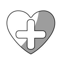 Grayscale silhouette of heart with cross inside vector