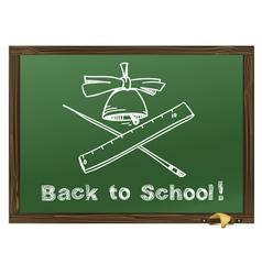 Green Wood school desks and hand-drawn chalk pictu vector image vector image