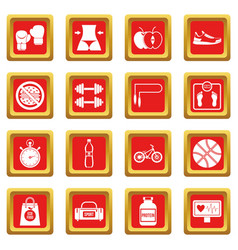 Healthy life icons set red vector