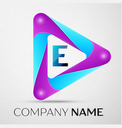 letter e logo symbol in the colorful triangle on vector image