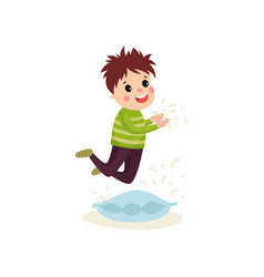 little naughty kid boy jumping on the pillow vector image vector image