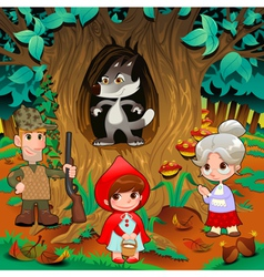 Little Red Hiding Hood scene vector image vector image