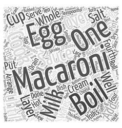 Macaroni recipes word cloud concept vector