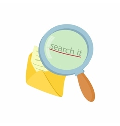 Open yellow envelope and magnifying glass icon vector