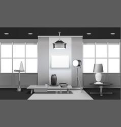 Realistic loft interior 3d design vector