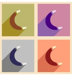 Set of flat icons with long shadow toy boomerang vector