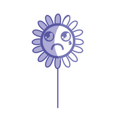 Silhouette kawaii sad flower plant with leaves and vector