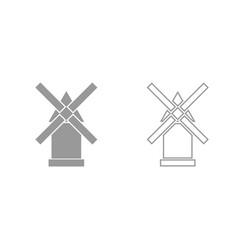 Windmill grey set icon vector