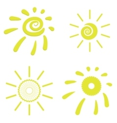 Yellow Sun Icons vector image vector image