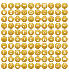 100 family camping icons set gold vector