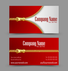 Zipper theme business card vector