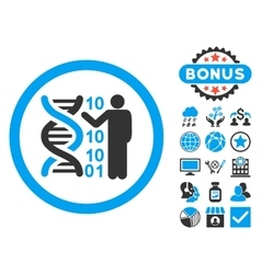 Dna code report flat icon with bonus vector