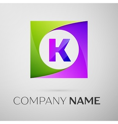 Letter k logo symbol in the colorful square on vector
