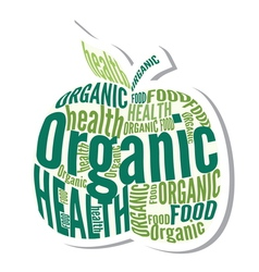 Organic apple design label vector