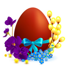 Easter holiday symbols colored egg branch of vector