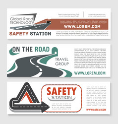 Road safery or highway construction banners vector