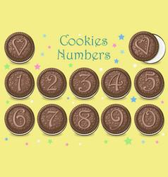 Chocolate cookies numbers vector