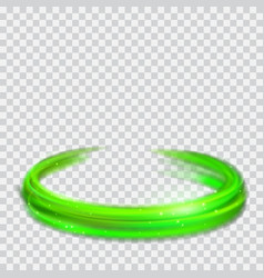Green glowing fire rings with glitters vector