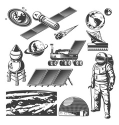 Vintage space elements collection vector
