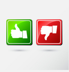 thumb down and thumb down applique icon flat style vector image