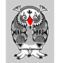 Ornate doodle fantasy monster personage owl vector