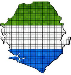 Sierra leone map with flag inside vector