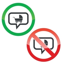 Pram message permission signs vector