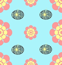 Seamless flower blue and black grid background vector