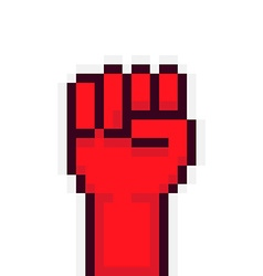 Pixel rebel hand vector